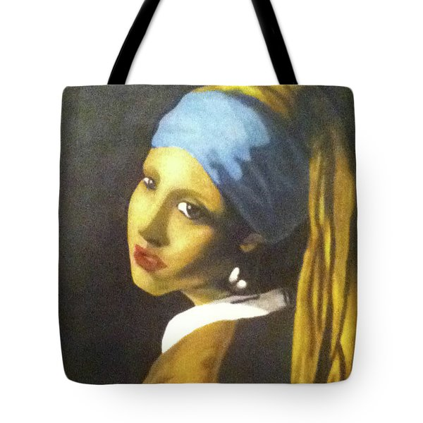 Tote Bag featuring the painting Girl With Pearl Earring by Jayvon Thomas