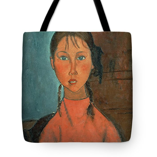 Girl With Pigtails Tote Bag by Amedeo Modigliani