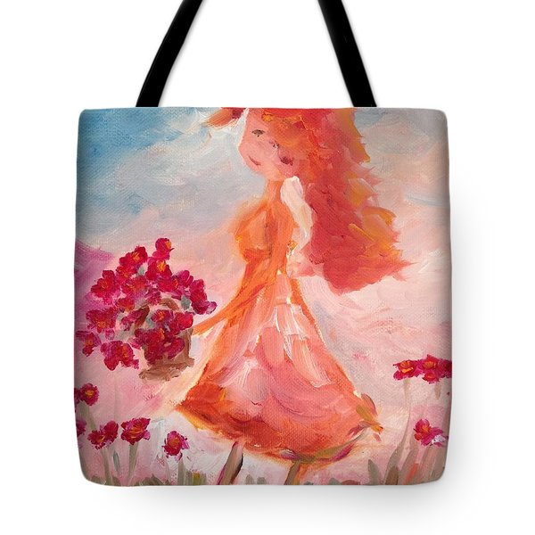 Girl With Poppies Tote Bag