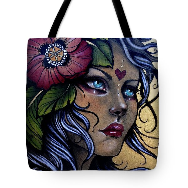 Girl With Poppy Flower Tote Bag