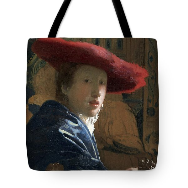 Girl With Red Hat Tote Bag