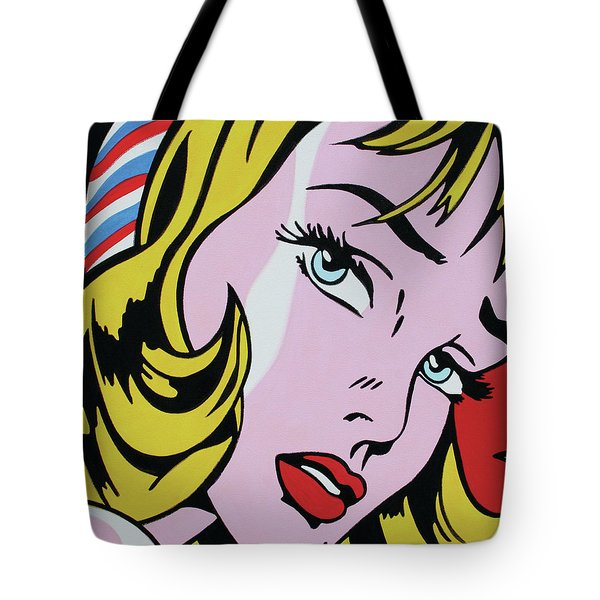 Girl With Ribbon Tote Bag by Luis Ludzska