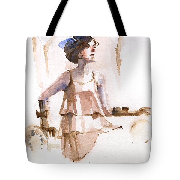 Girl With The Blue Ribbon Tote Bag
