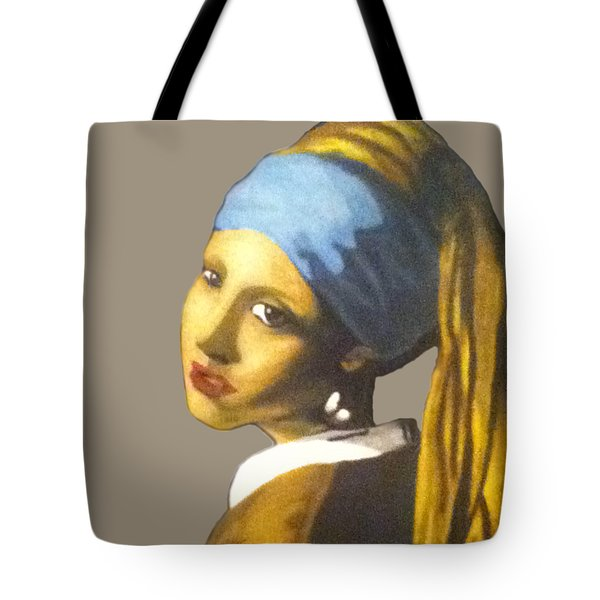 Tote Bag featuring the painting Girl With The Pearl Earring No Background by Jayvon Thomas