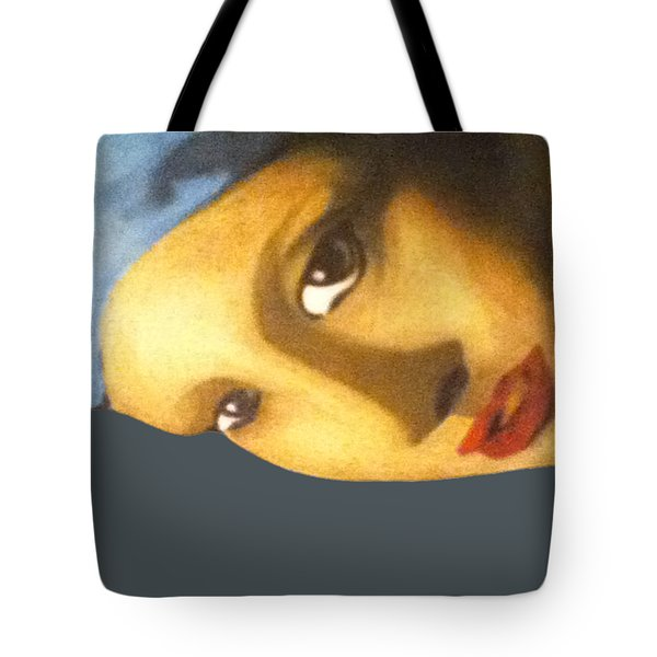 Tote Bag featuring the painting Girl With The Pearl Earring Side by Jayvon Thomas