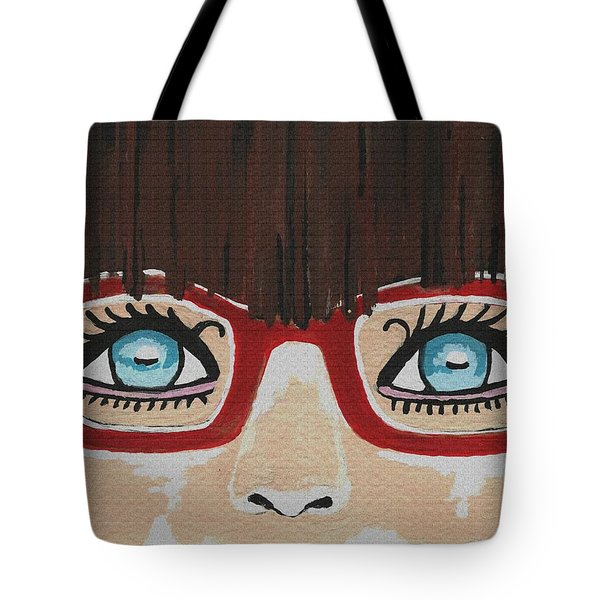 Tote Bag featuring the painting Girl With The Red Glasses by Kathleen Sartoris