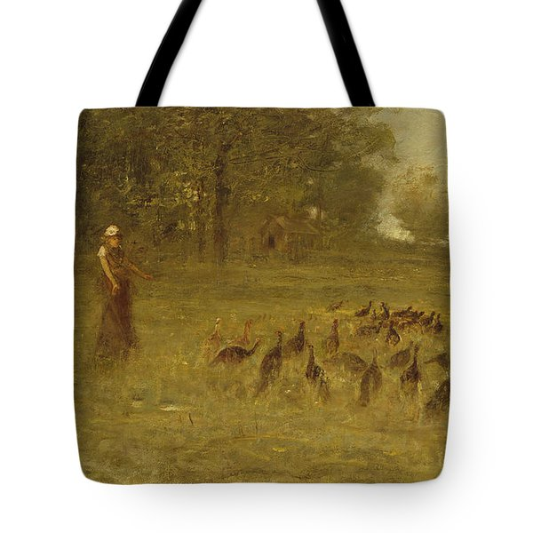 Girl With Turkeys Tote Bag by George Fuller