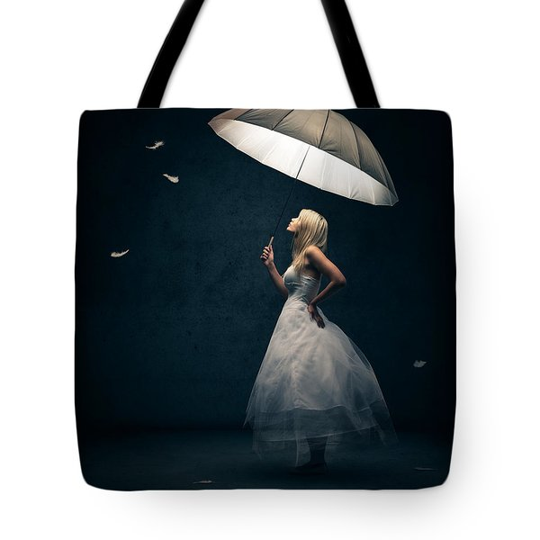 Girl With Umbrella And Falling Feathers Tote Bag by Johan Swanepoel