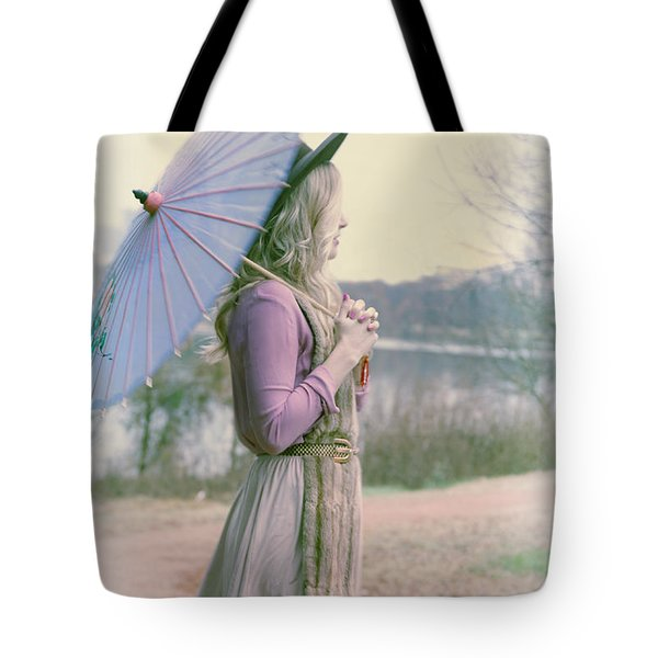 Tote Bag featuring the photograph Girl With Umbrella by Gregg Cestaro