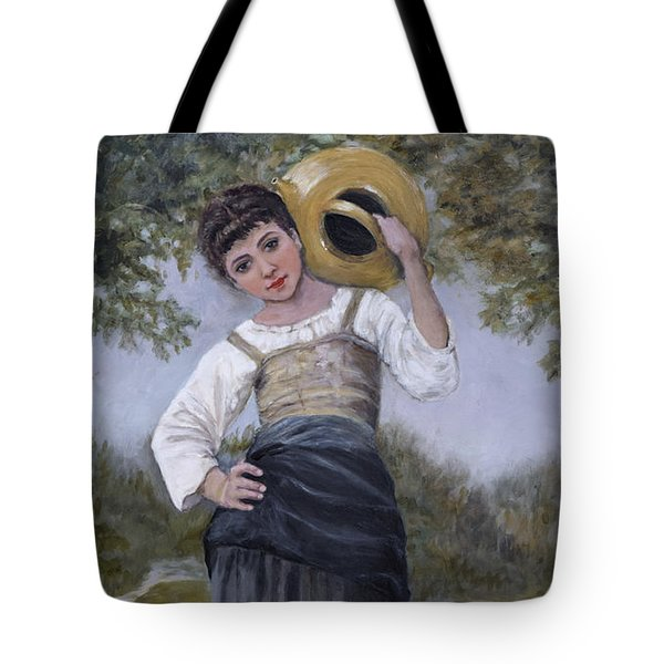 Girl With Water Jug Tote Bag