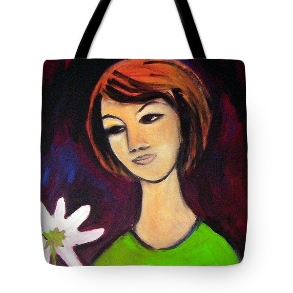 Tote Bag featuring the painting Girl With White Flower by Winsome Gunning