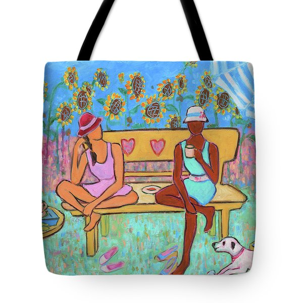 Tote Bag featuring the painting Girlfriends' Teatime IIi by Xueling Zou