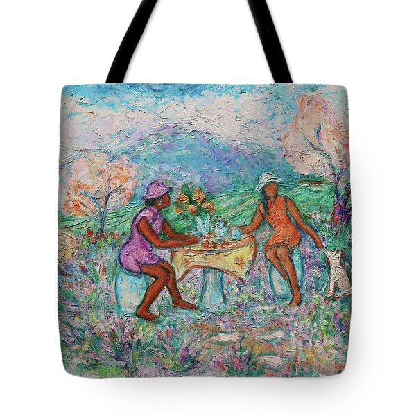 Tote Bag featuring the painting Girlfriends' Teatime Iv by Xueling Zou