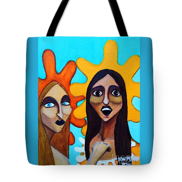 Tote Bag featuring the painting Girls Caught In Fraganti by Don Pedro De Gracia