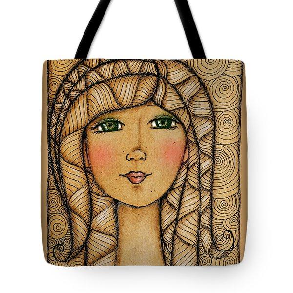 Girl's Face Tote Bag by Delein Padilla
