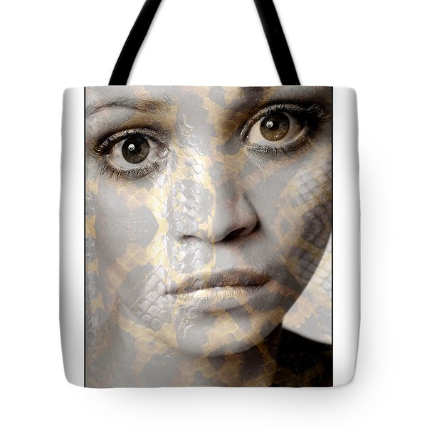 Girls Face With Snake Skin Texture Tote Bag