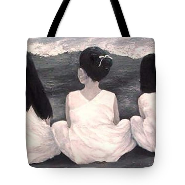 Girls In White At The Beach Tote Bag by Patricia Awapara