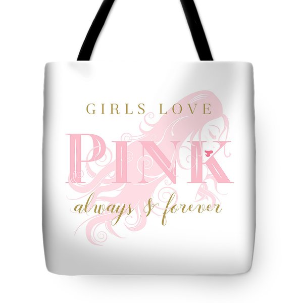 Tote Bag featuring the digital art Girls Love Pink Woman Silhouette by Tracie Kaska