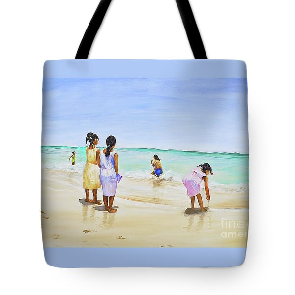 Tote Bag featuring the painting Girls On The Beach by Patricia Piffath