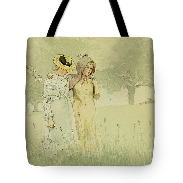 Girls Strolling In An Orchard Tote Bag by Winslow Homer
