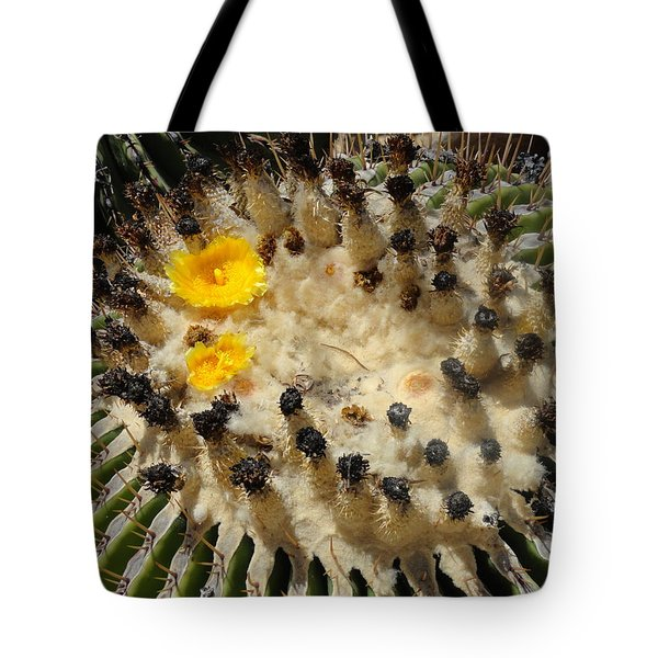 Giving Birth Barrel Cactus Yellow Flowers Tote Bag