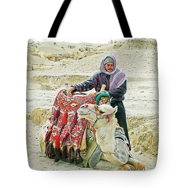 Giza Camel Taxi Tote Bag by Joseph Hendrix