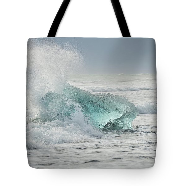 Glacial Iceberg In Beach Surf. Tote Bag