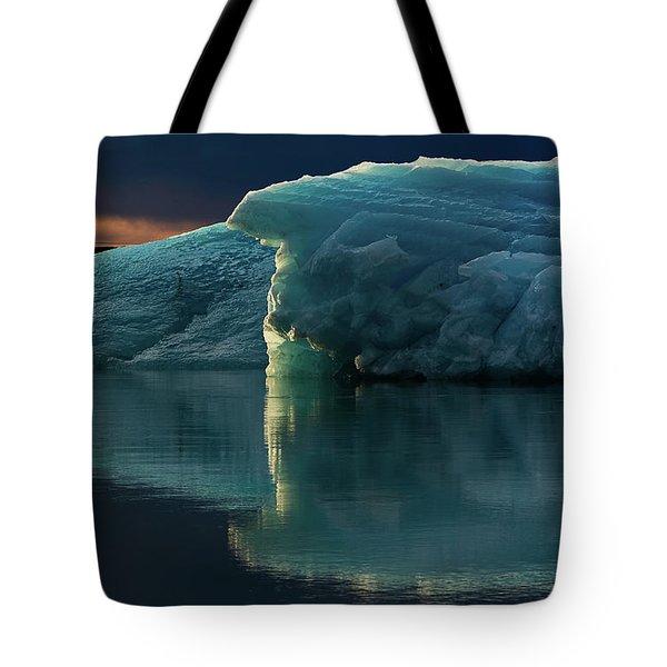 Glacial Lagoon Reflections Tote Bag by Allen Biedrzycki