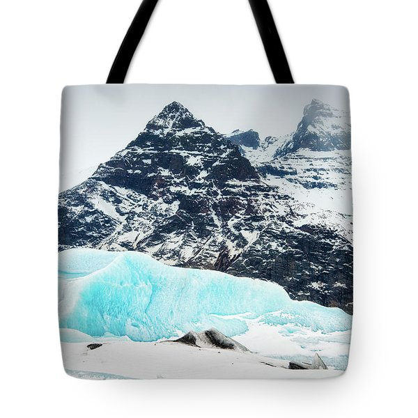 Tote Bag featuring the photograph Glacier Landscape Iceland Blue Black White by Matthias Hauser
