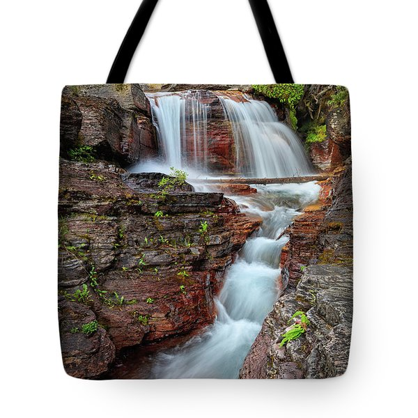 Glacier National Park Waterfall 2 Tote Bag