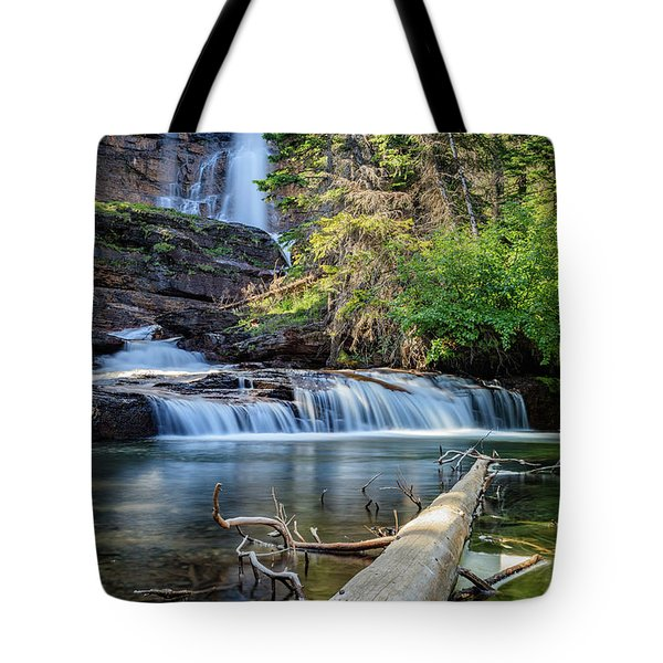 Glacier National Park Waterfall 3 Tote Bag