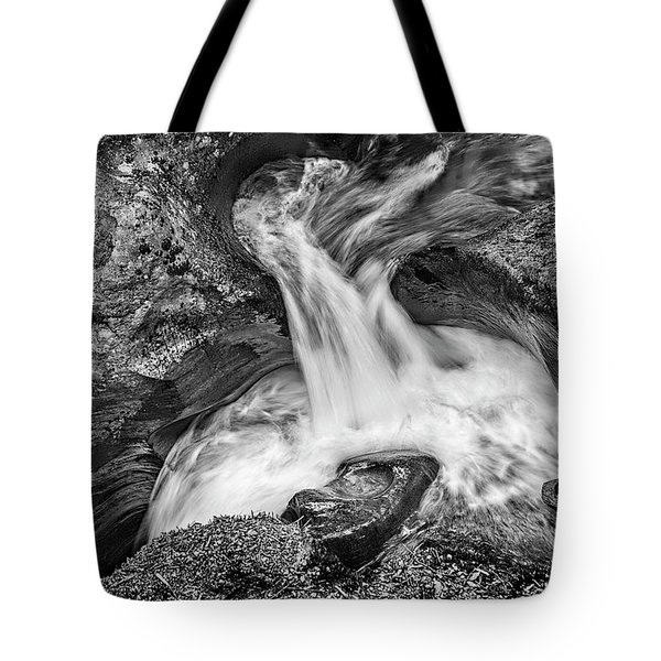 Glacier National Park's Avalanche Gorge In Black And White Tote Bag