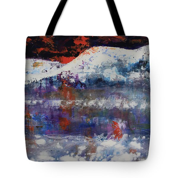Tote Bag featuring the painting Glacier Reflections by Walter Fahmy