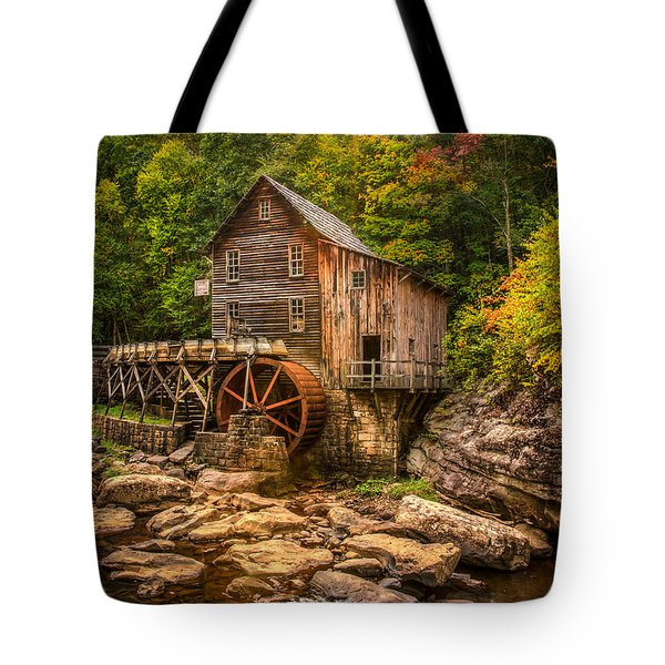 Tote Bag featuring the photograph Glade Creek Mill Fall by Rebecca Hiatt
