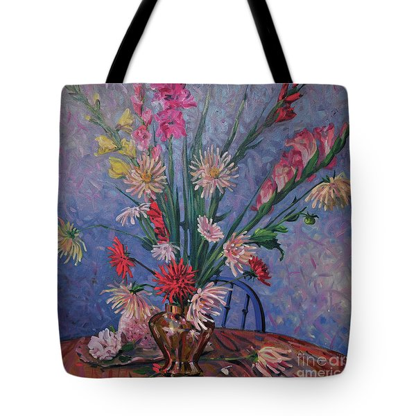 Tote Bag featuring the painting Gladiolas And Dahlias by Donald Maier