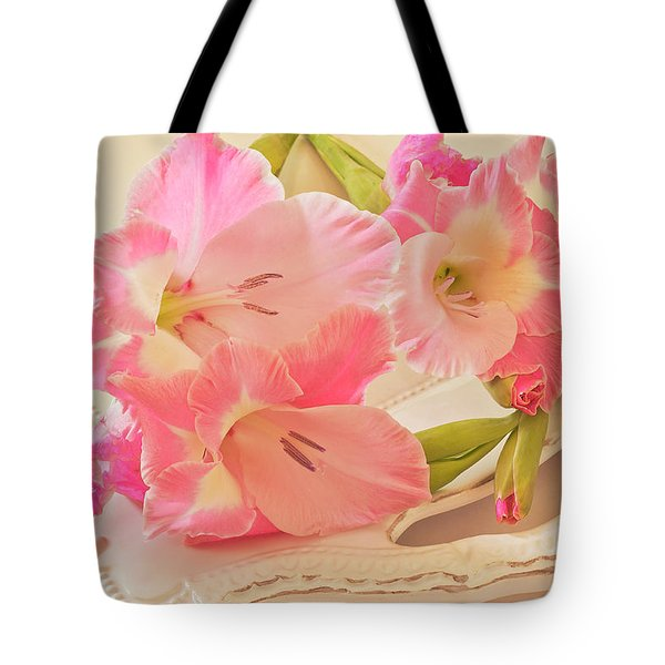 Gladiolas In Pink Tote Bag by Sandra Foster