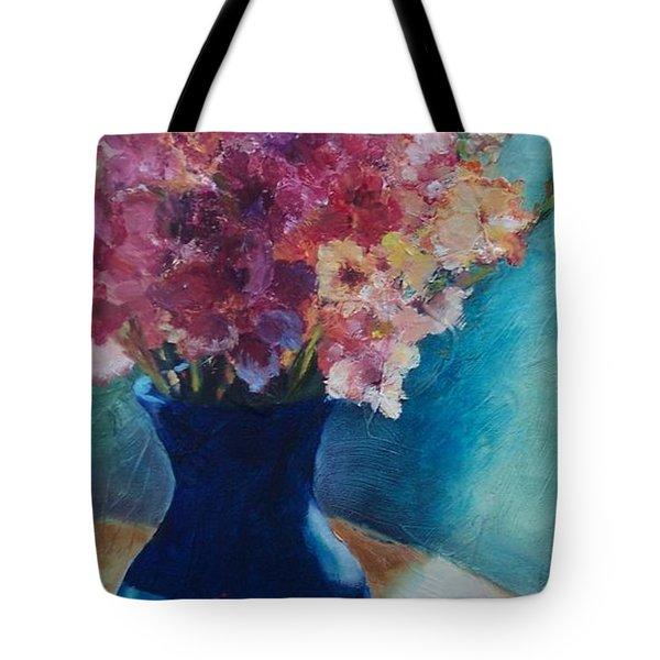 Gladioli-blue Tote Bag