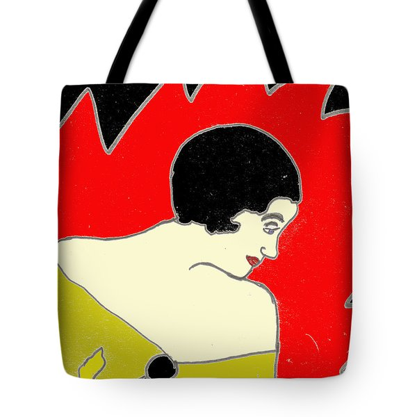 Tote Bag featuring the drawing Glancing Down by W And F Kreations