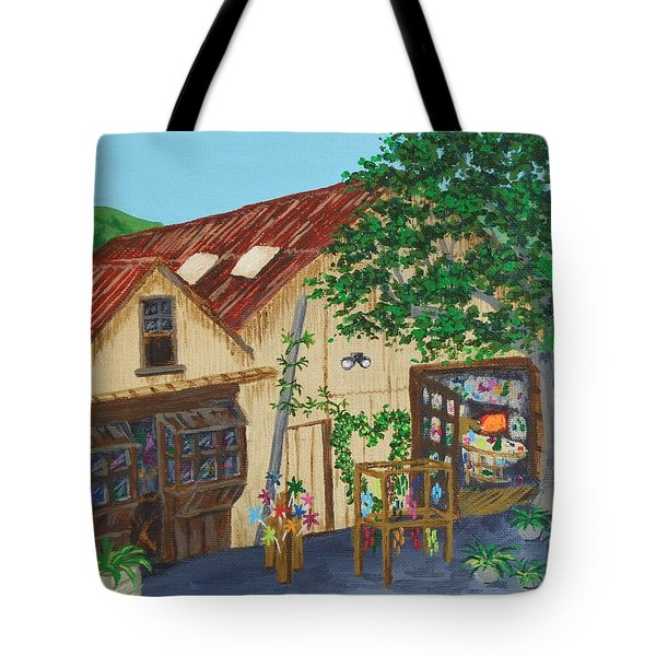 Tote Bag featuring the painting Glass Blower Shop Harmony California by Katherine Young-Beck