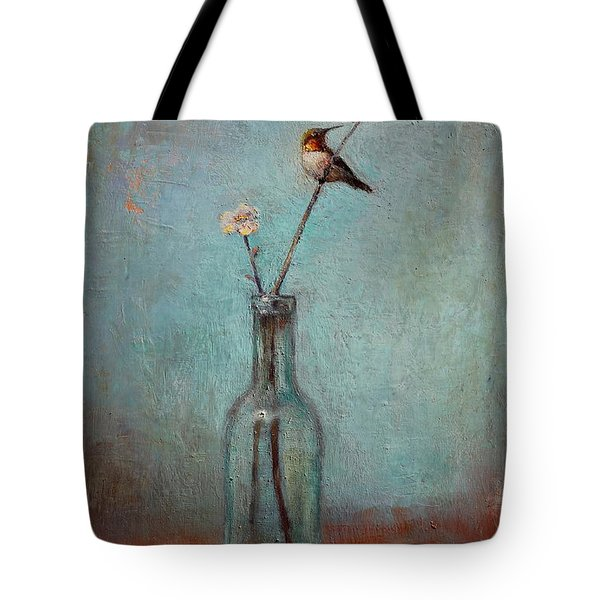 Glass Bottle And Hummingbird Tote Bag