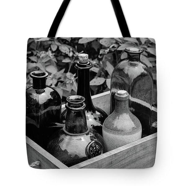 Glass Bottles In The Garden Tote Bag