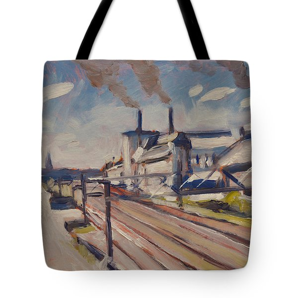 Glass Factory Along The Railway Track Tote Bag