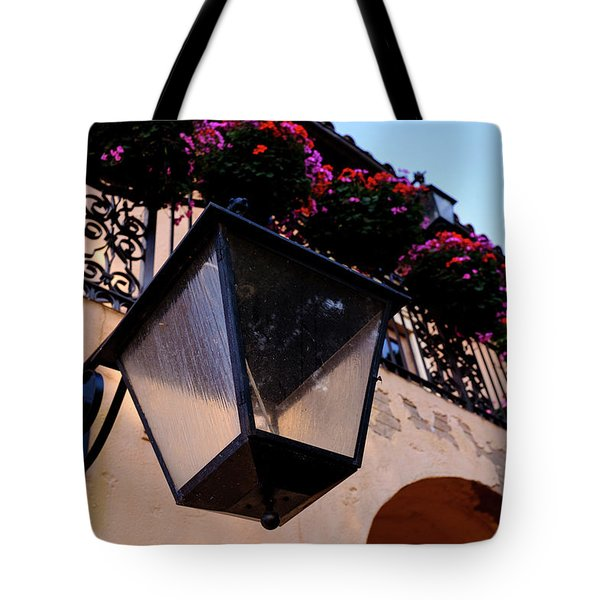 Glass Light Housing With Red Flower Architecture In Saint August Tote Bag