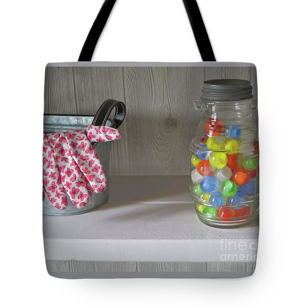 Tote Bag featuring the photograph Glass Marbles From Childhood by Nancy Lee Moran