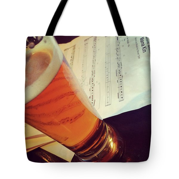 Glass Of Beer And Music Notes Tote Bag
