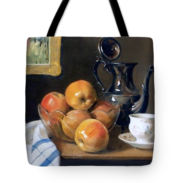 Glass, Silver And Apples Tote Bag