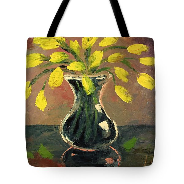 Glass Vase And Yellow Flowers Tote Bag