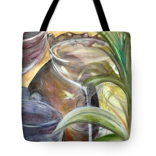 Glasses Grapes And Plants Tote Bag