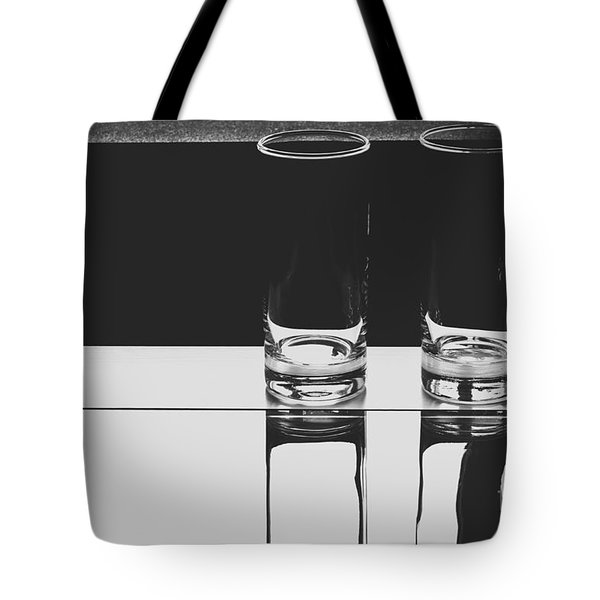 Glasses On A Table Bw Tote Bag