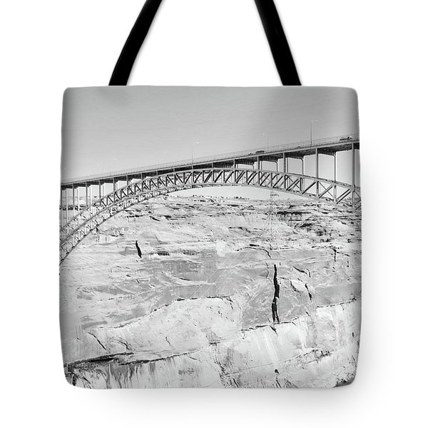 Glen Canyon Bridge Bw Tote Bag